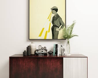 Mid Century Art, Surreal Portrait Print, Paper Collage, Black and White, Yellow, Minimalist - Observing