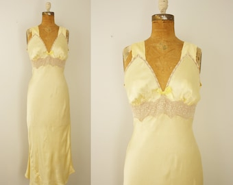 1930s nightgown | vintage 30s yellow satin lingerie