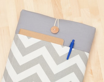 Macbook Air 11 case / 12 inch new macbook case / macbook 12 cover / Laptop sleeve, padded with pockets - chevron in grey -