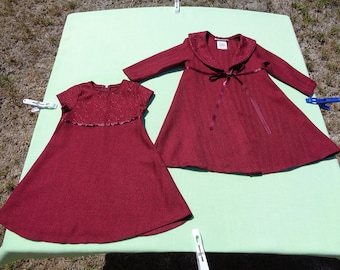 vintage bonnie jean girls dressy dress with coat size 2t see measurements burgundy tweed darker than pictures