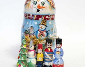Christmas Ornaments Set Matryoshka Doll Snowman