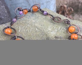 handmade jewelry, wirework, beaded bracelet, handmade bracelet, copper bracelet, wire wrapped jewelry, wirework jewelry, purple, orange