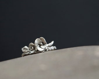 Fine Silver Flower and Twig Ring Size 5.25