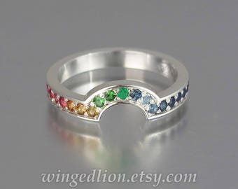 RAINBOW silver half-eternity band