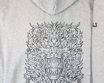 Dragon Head Zip Up Sweatshirt