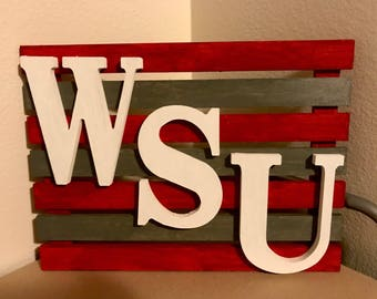 WSU Cougars Wood Sign