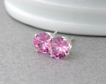 Pink Tourmaline Earrings Small Silver Stud Earrings Pink Tourmaline Stud Earrings October Birthstone Simple Jewelry Handmade Gift for Her