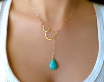 Turquoise Lariat Necklace, Turquoise Y Necklace, Turquoise Drop Necklace Gold, Turquoise Pendant, December Birthstone Necklace, Gift For Her
