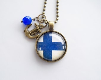 Flag of Finland Necklace - Finnish Flag - You Choose Bead and Charm - Patriotic Pendant - Custom Jewelry - Travel Necklace - Blue And White
