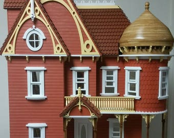 Adelaide Victorian Mansion Wooden Dollhouse Kit, Scale One Inch