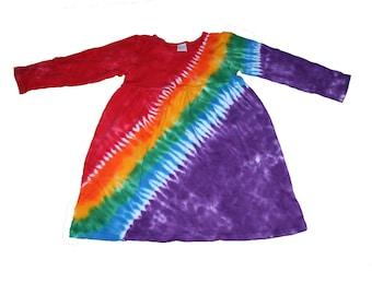 Girls Tie Dye Dress in a Classic Rainbow Long Sleeve Dress for Girls