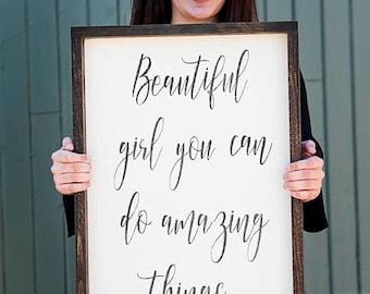 Beautiful girl you can do amazing things-FREE SHIPPING-wood sign- beautiful girl-nursery art- teen art -tween decor -motivational sign