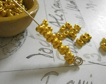 13g Farfalle Beads 6mm x 3mm Gold Metallic Butterfly Bead Czech Glass Seed Beads Yellow Bowtie Bead