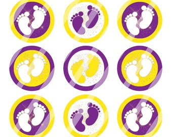 INSTANT DOWNLOAD /Baby Girl Footprints/Purple, Yellow & Gold /Digital Bottle Cap Image Sheet/ 1 Inch Circles /4x6 Collage Sheet /# BC174