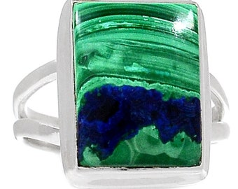 Azurite and Malachite in Sterling Silver. Ring Size 7. 2787