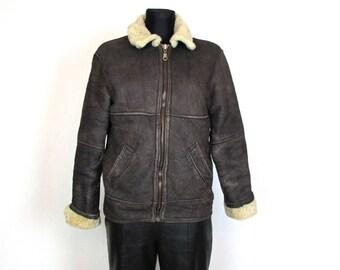 Vintage Soft Lightweight. Sheepskin Shearling Brown Leather Jacket Bomber Size S-M