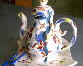 Teapot and Plate Set ceramic art  with chopsticks white blue brown  whimsical tea set