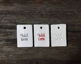 Set of 20 rectangular clay tags WITH LOVE for birthday, christmas, wedding gifts