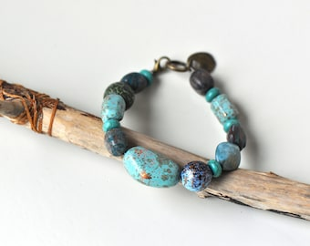 Bronze and Turquoise Beaded Bracelet- Turquoise Bracelet- Earthy Bracelet- Boho Bracelet- Beaded BRacelet- Love- Gfit for Her- Boho Jewelry
