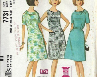1960s McCall's 7731, Misses Easy Three-Panel Dress Pattern, Size 16 UNCUT