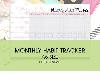 Filofax Kikki K Printable Monthly Habit Tracker Insert A5 Half Letter Size