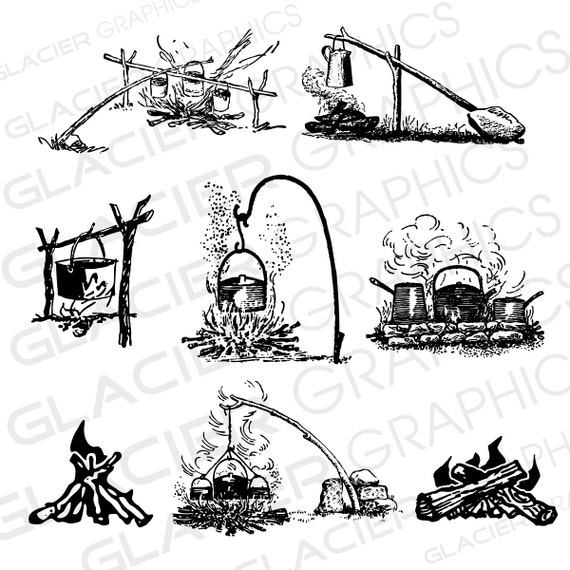 Vintage Camping Outdoor Cooking Campfire Illustrations Clipart Copyright Free