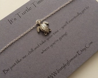 Turtle Necklace, Silver Turtle Necklace, Sea Turtle Necklace, Birthday Gift