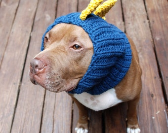 Dinosaur Dog Snood MADE TO ORDER Blue and Yellow