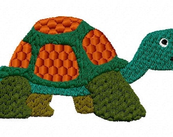 "Turtle - Machine Embroidery Design Download, Size  3.37"" x 1.73"" 7 colors"