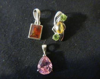 Vintage 3 Sterling Silver Faceted Stone Setting Necklace Pendants - Estate Find