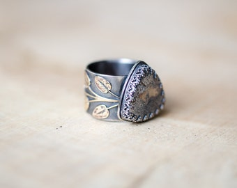 Native Silver, Metalsmith Ring, Recycled Silver Ring, Gemstone Ring, Statement Ring, Nature Jewelry, Wide Band Ring, Cocktail Ring
