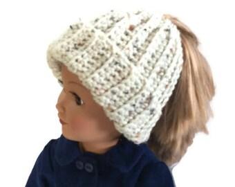 18 Inch Doll Bun Beanie, Aran Fleck Messy Bun Hat, Ponytail Beanie, Crocheted Doll Hat, 18 Inch Doll Clothes, Winter Doll Clothes