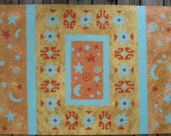 Floorcloth with Moroccan design and stars and moons - 30 x 48 inches
