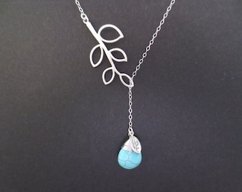 Personalized, Initial, Turquoise, Stone, Sideways, Branch, Sterling silver, Chain, Silver, Necklace, Lariat, Tree, Lovers, Friends, Gift