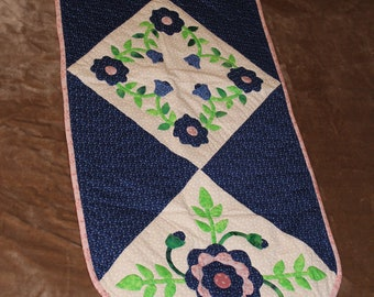 Blue and Pink Floral Applique Table Runner