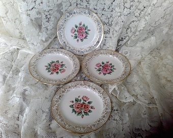 22 K. Gold, Eastern china USA,  Rose bread plates, saucers,Replacements, Wall decor, vintage dishes