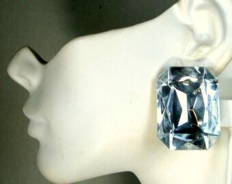 Giant Rhinestone Clip Earrings, Vintage Headlights, 1960s Wham Bam Faceted Shiny Bling Rectangles,  Sparkling FAKE Diamonds