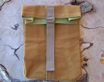 Canvas Lunch Bag, Tan & Wasabi, Washable Lunch Bag