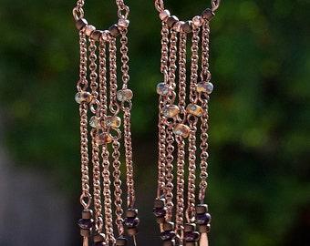 Antique Copper, Picasso Seed Bead,Chandelier Dangle Earrings, Jewelry, Seed Bead, Toho Beads, Chain, Drop Earrings, Handmade