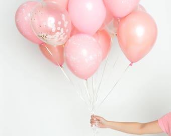Confetti ballon ensemble - le millénaire millénaire rose - vieux rose, rose, Or Rose, rose éclaboussure peinture Bouquet de ballons - ballons Party Chic