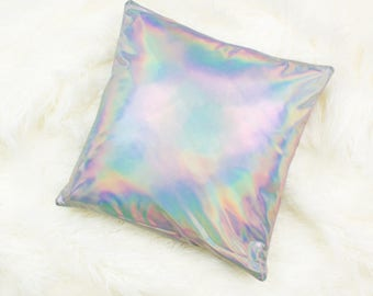 Holographic Throw Pillow Metallic Cushion Cover Fun Decorative Pillows Gifts for Girls Silver Accent Pillow Unicorn Pillow