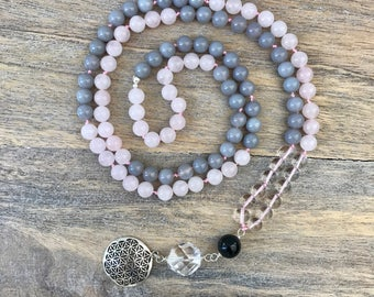 Rose Quartz and Agate 108 Mala Beads with Sterling Silver Flower Of Life Charm, Knotted Meditation Mala, Gemstone Mala Necklace, Yoga Beads