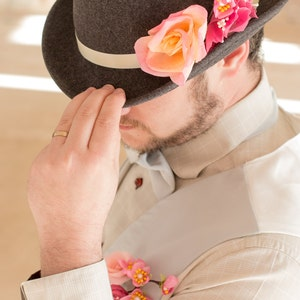 Groom hat - fedora with silk flowers - pink and grey wedding