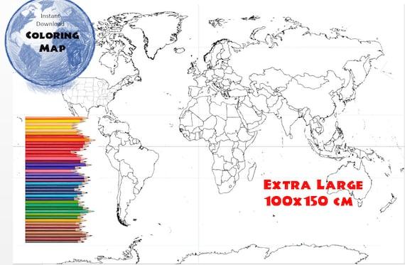 Welt Karte Malvorlagen, Coloring Book Seite, USA Staaten und Ländern ...