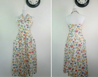 1940s Floral Cotton Sun Dress Alterneck Summer dress pockets