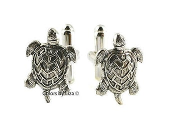 Sea Turtle Cufflinks Antique Sterling Silver Island Life Inspired Cuff Links