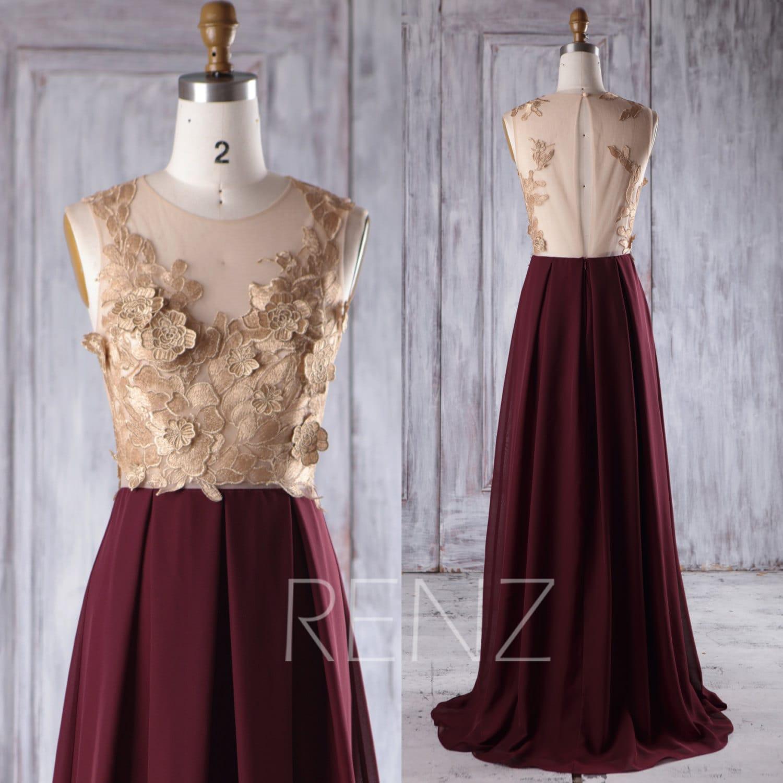 Rose gold lace bridesmaid dress long maroon chiffon wedding zoom ombrellifo Choice Image