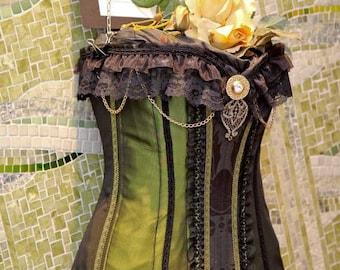 Steampunk Victorian Korsett grünen Taft und schwarzer Spitze