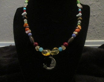 Moonface and Star Beaded Necklace