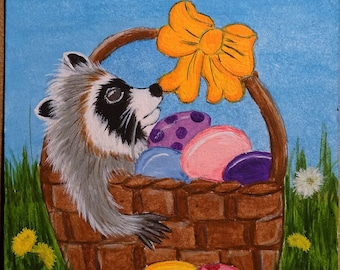 Raccoon Aceo Painting Easter Original,,flowers,daisy,basket,eggs,wildlife,coon bow dandelion